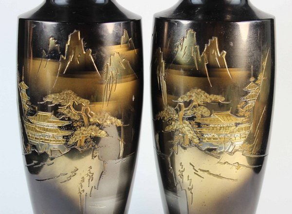 Pair Of Japanese Bronze Inlaid 24K Gold Vases - 3