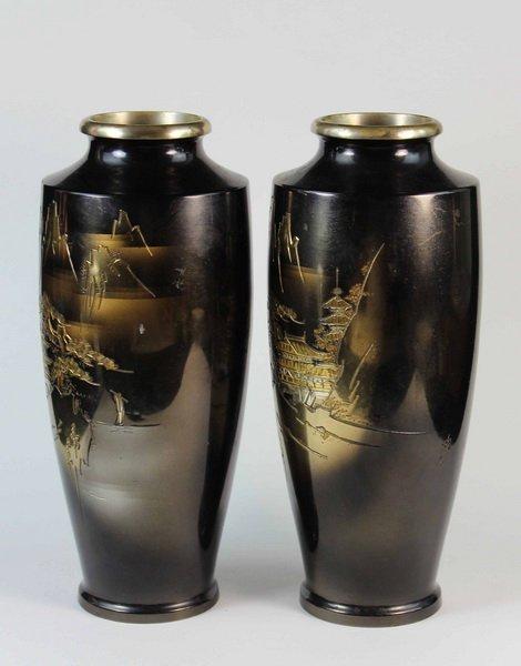 Pair Of Japanese Bronze Inlaid 24K Gold Vases - 4