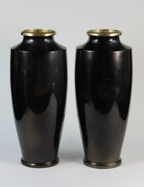 Pair Of Japanese Bronze Inlaid 24K Gold Vases - 5