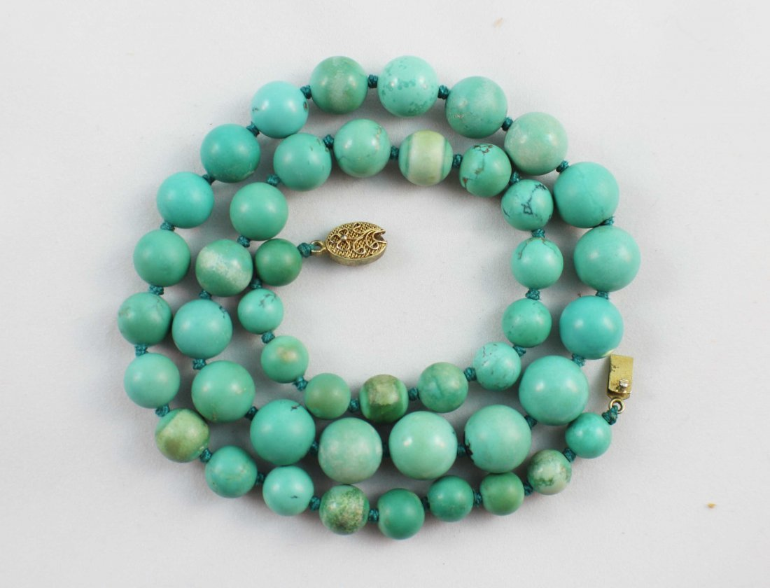 Chinese Carved Turquoise Bead Necklace