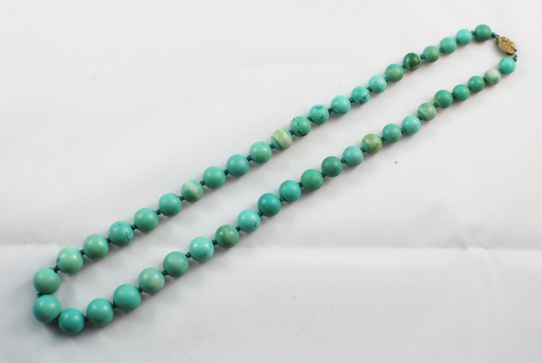 Chinese Carved Turquoise Bead Necklace - 2