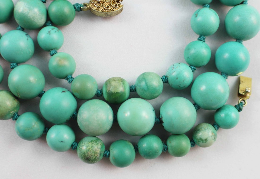 Chinese Carved Turquoise Bead Necklace - 3