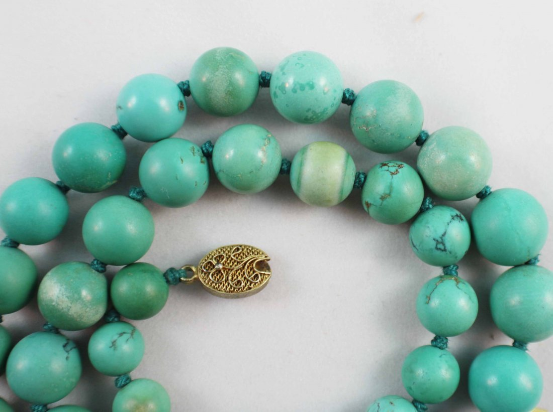 Chinese Carved Turquoise Bead Necklace - 4