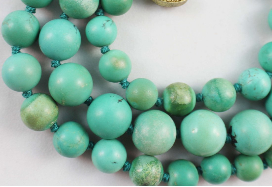 Chinese Carved Turquoise Bead Necklace - 5