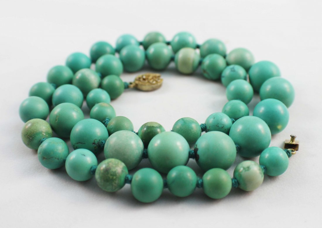 Chinese Carved Turquoise Bead Necklace - 6