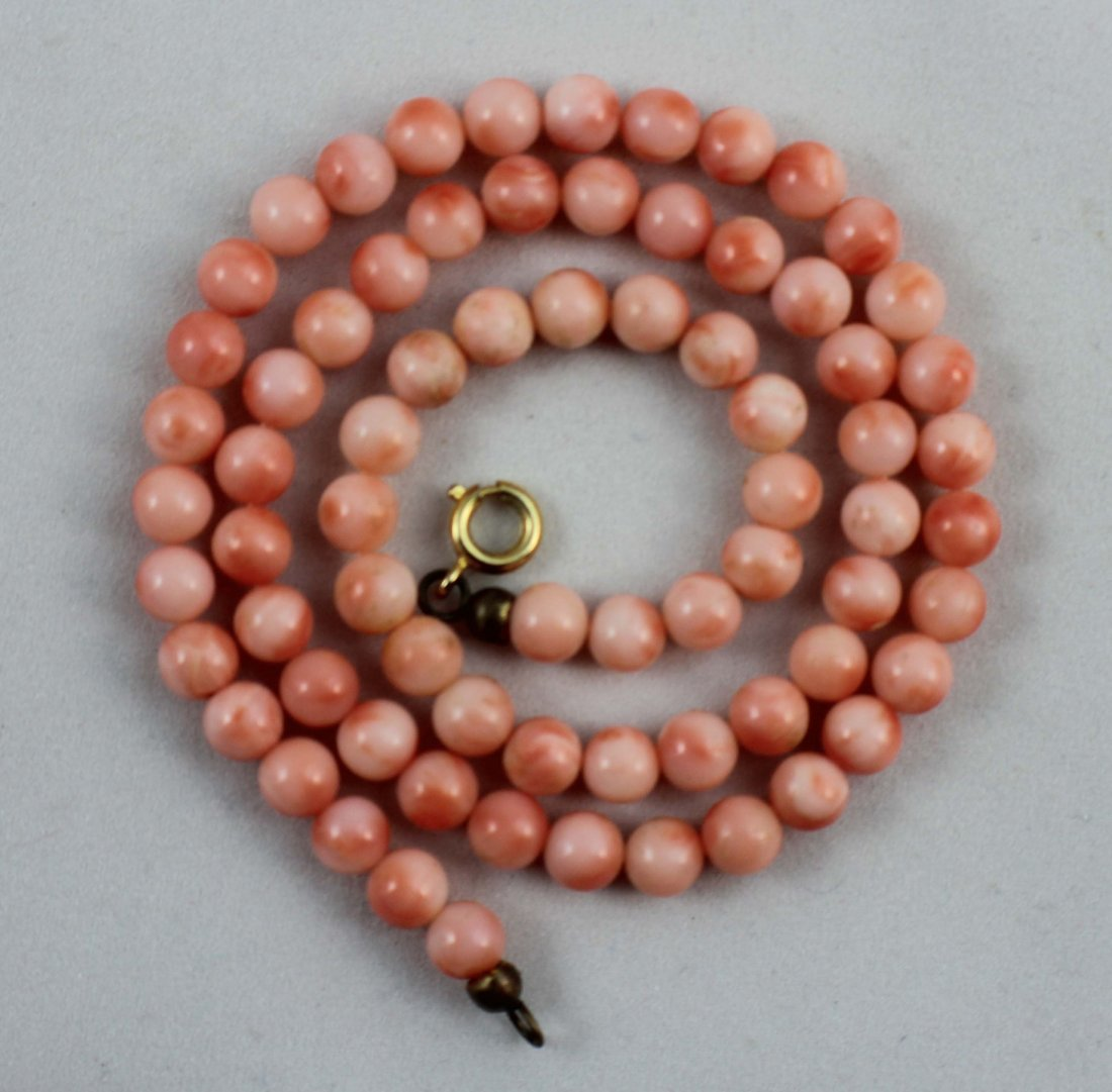 Chinese Carved Red Coral Bead Necklace