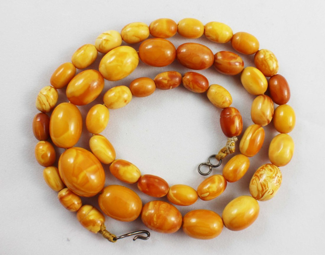Carved Amber Bead Necklace