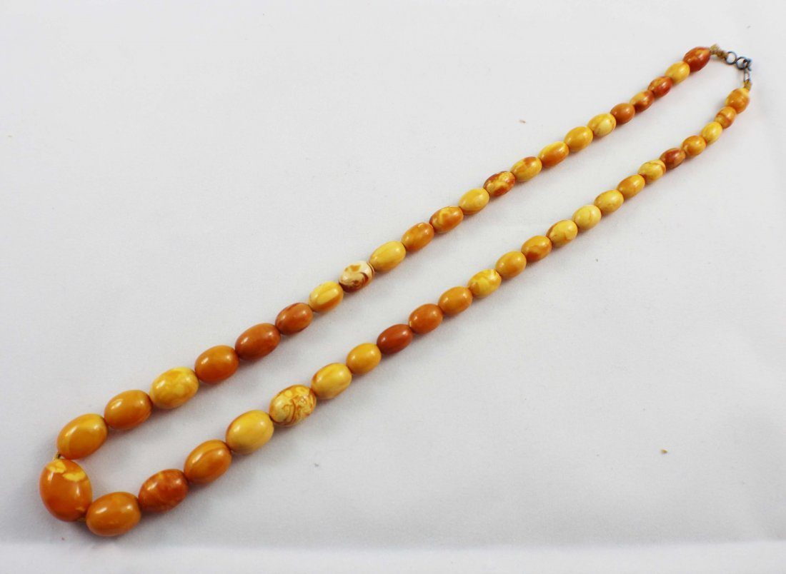 Carved Amber Bead Necklace - 2