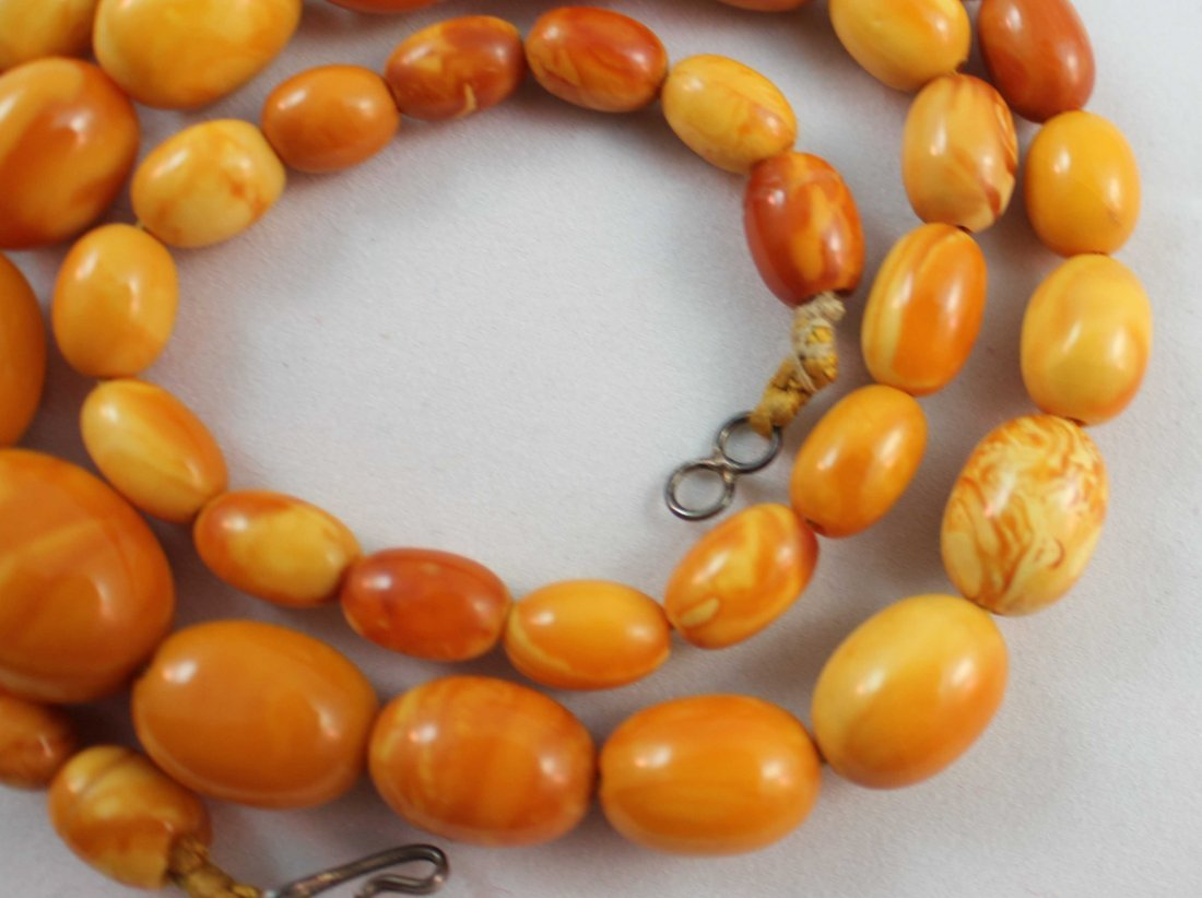 Carved Amber Bead Necklace - 4