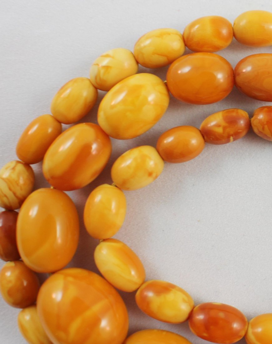 Carved Amber Bead Necklace - 5