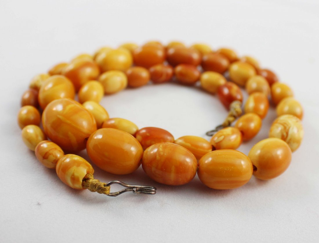 Carved Amber Bead Necklace - 6