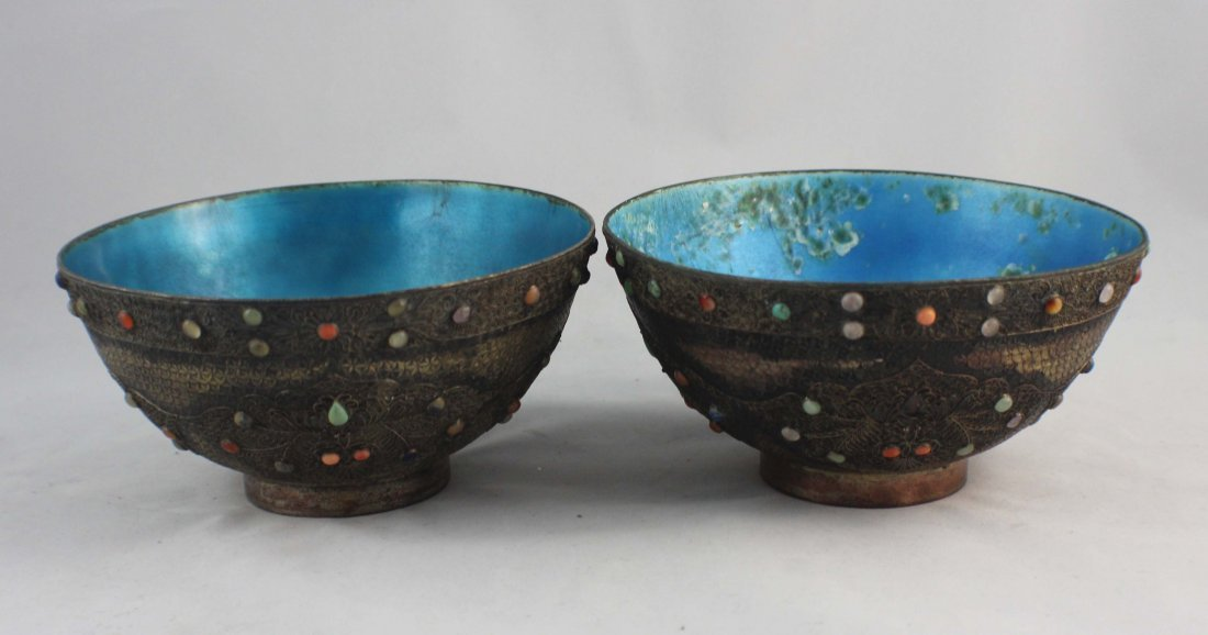 Pair Of Chinese Silver Inlaid GEM Bowls
