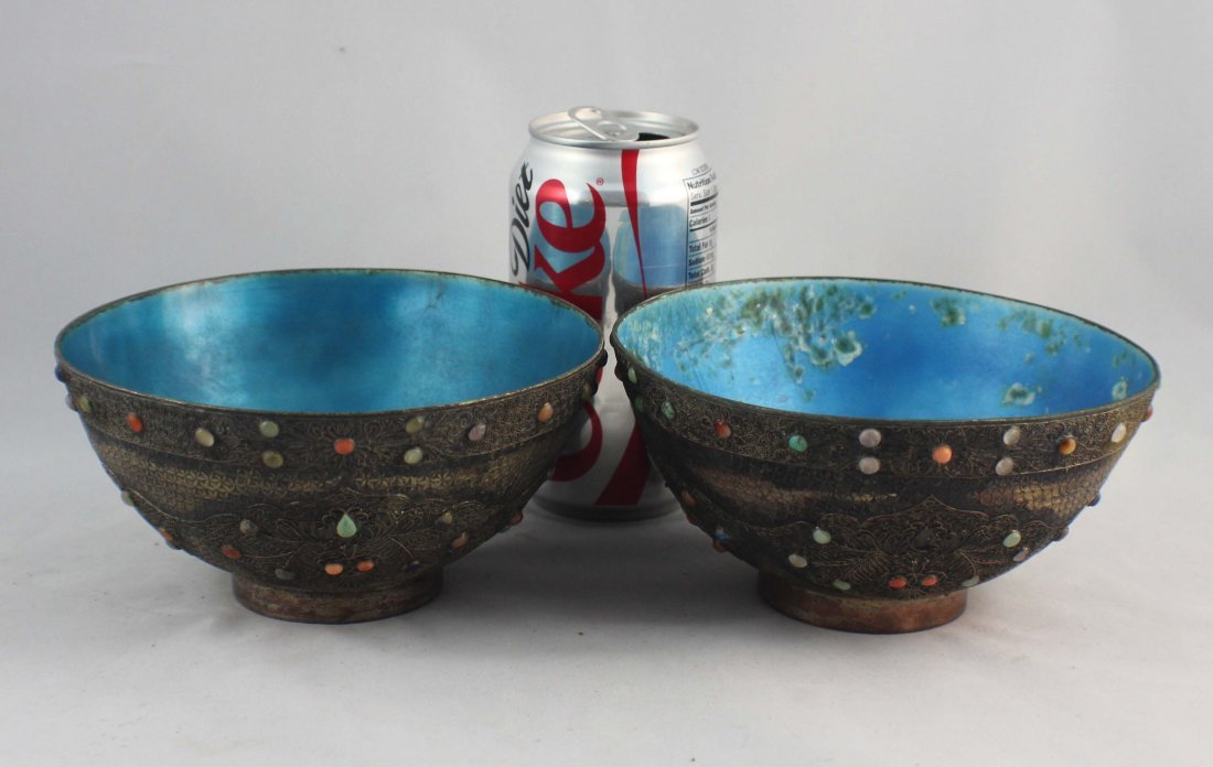 Pair Of Chinese Silver Inlaid GEM Bowls - 2