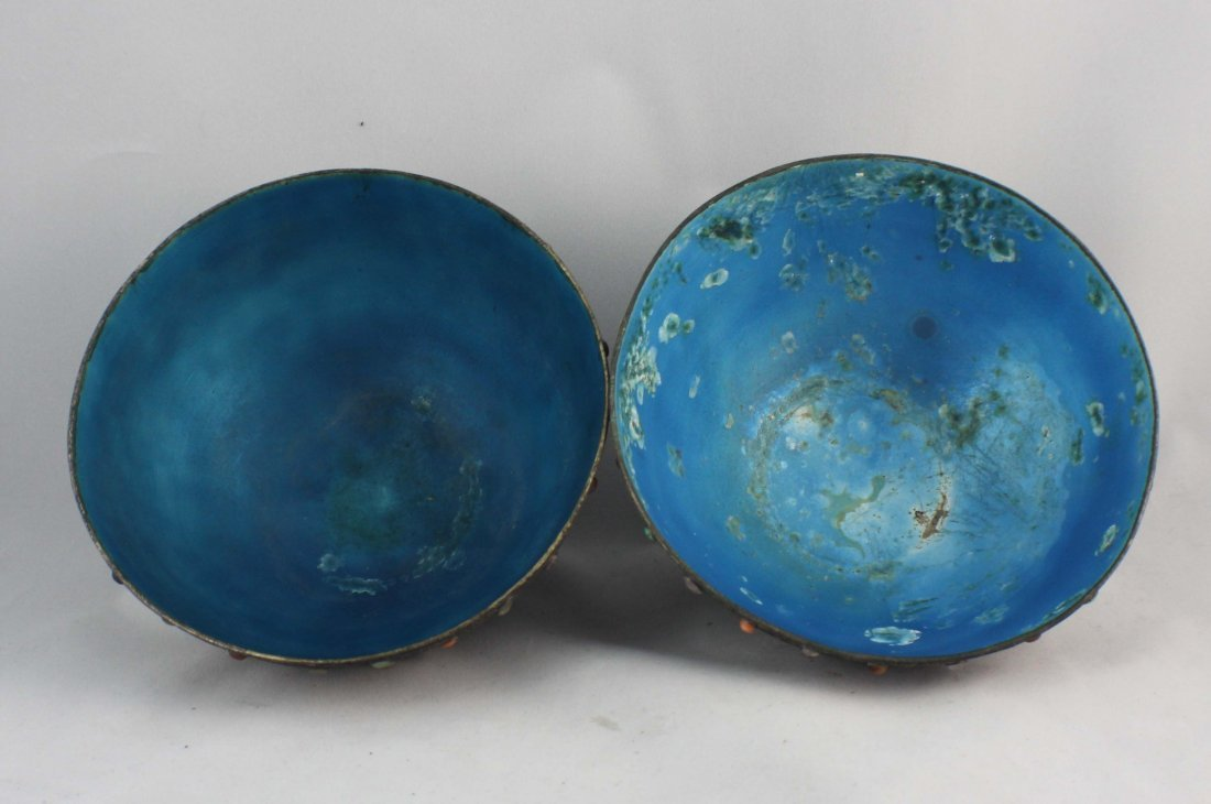 Pair Of Chinese Silver Inlaid GEM Bowls - 3