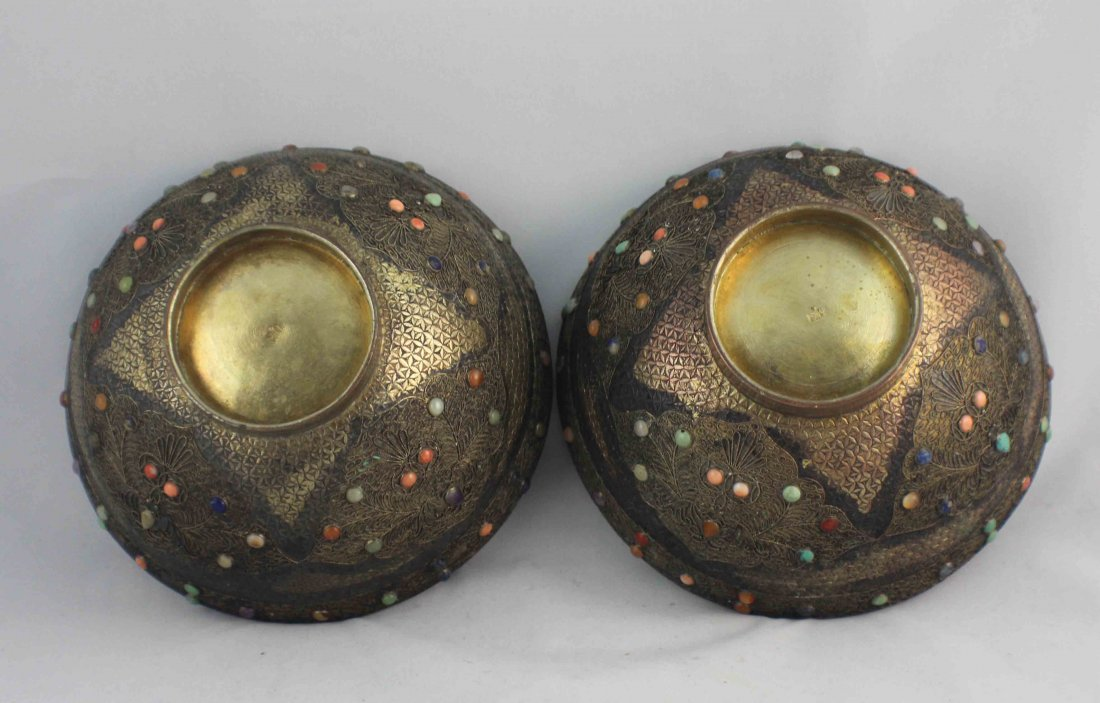 Pair Of Chinese Silver Inlaid GEM Bowls - 4