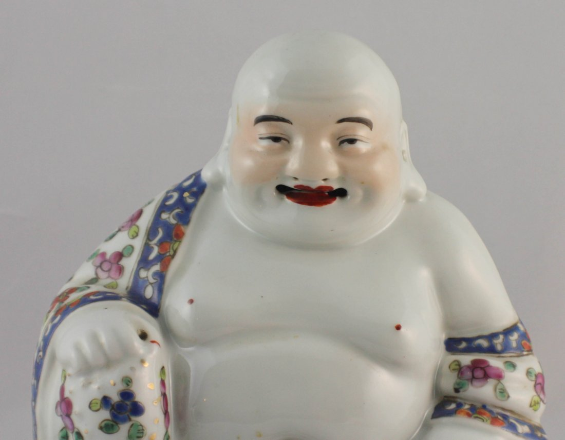 Chinese Porcelain Statue Of Buddha Marked - 2