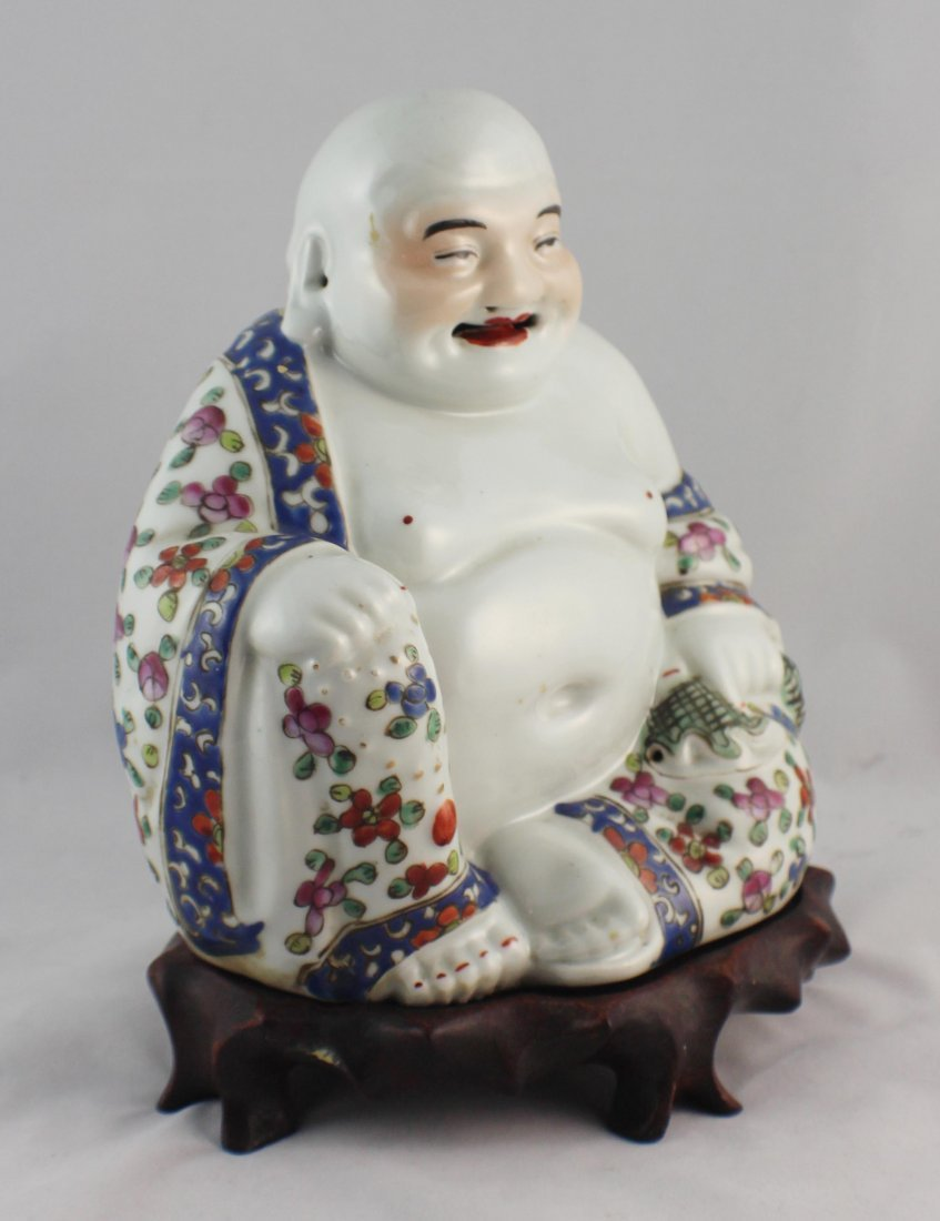 Chinese Porcelain Statue Of Buddha Marked - 5