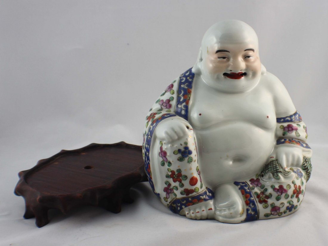 Chinese Porcelain Statue Of Buddha Marked - 7
