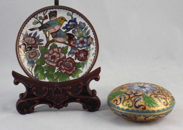 2 Chinese Cloisonne Plate & Box