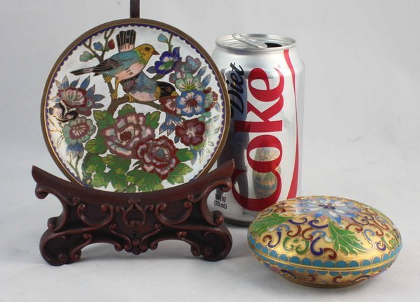 2 Chinese Cloisonne Plate & Box - 2