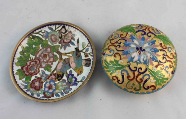 2 Chinese Cloisonne Plate & Box - 4