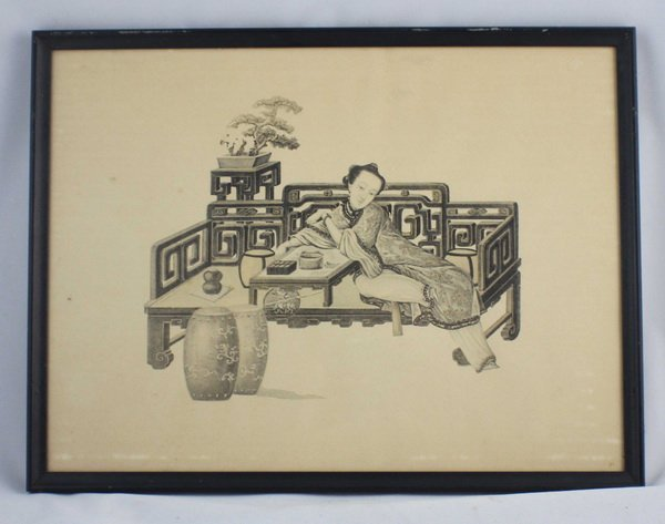 Chinese Print Picture W/Frame
