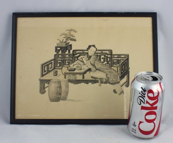 Chinese Print Picture W/Frame - 3