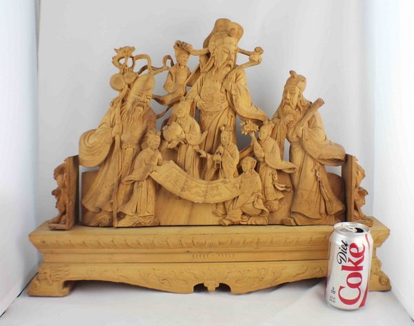 Chinese Carved Wood Statues - 2