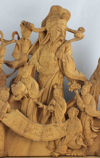 Chinese Carved Wood Statues - 4