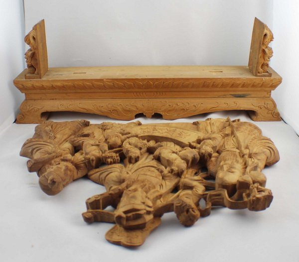 Chinese Carved Wood Statues - 9