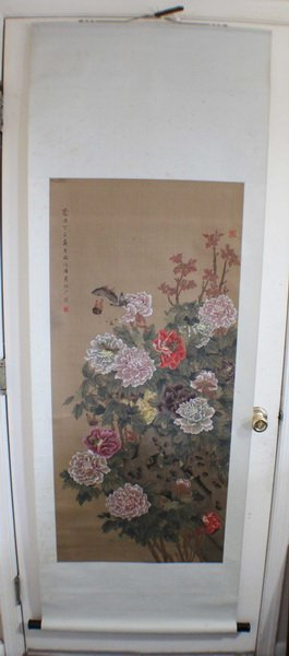 Chinese Hand Painted On Silk Scroll W/Box
