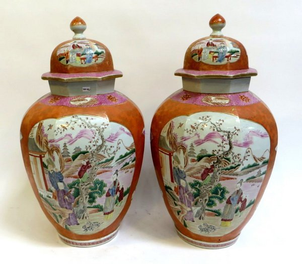 PAIR LARGE CHINESE EXPORT ROSE MEDALLION LIDDED VASES - 2