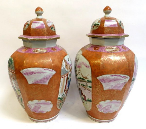 PAIR LARGE CHINESE EXPORT ROSE MEDALLION LIDDED VASES - 3