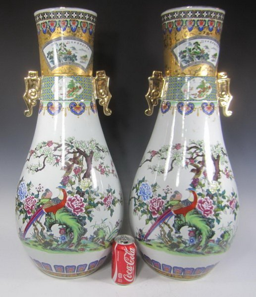 Pair Large Chinese Famille Rose Vases - 2