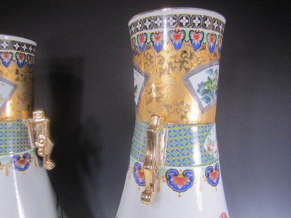 Pair Large Chinese Famille Rose Vases - 6