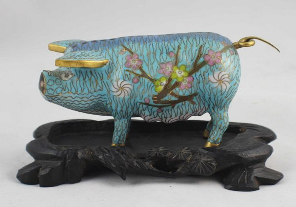 Chinese Cloisonne Statue With Wood Stand
