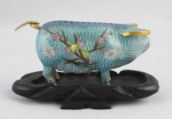 Chinese Cloisonne Statue With Wood Stand - 4