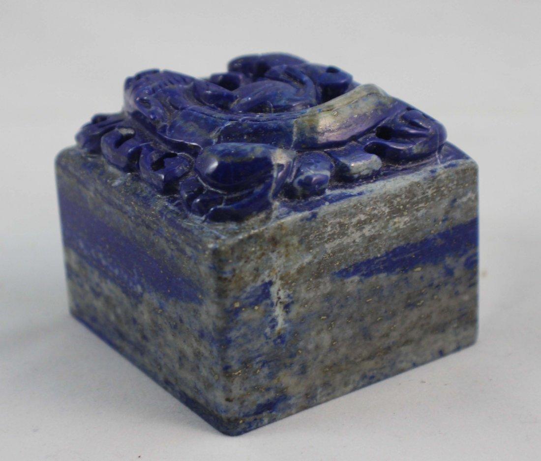 Chinese Carved Lapis Lazuli Seal - 7