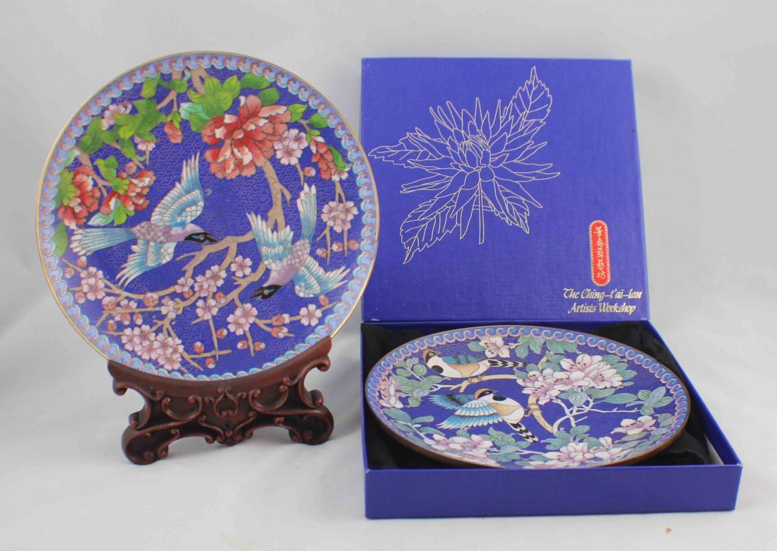 Paie Of Chinese Cloisonn Plates