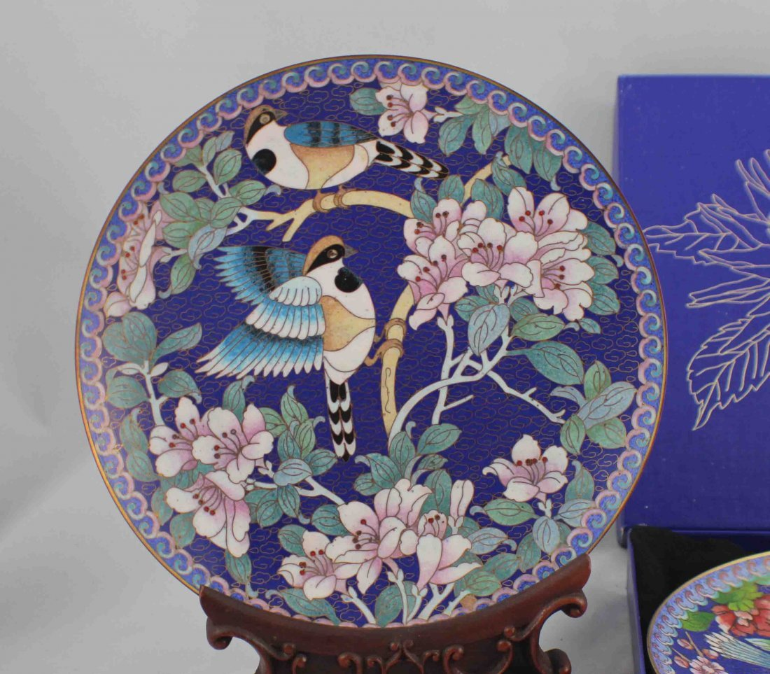 Paie Of Chinese Cloisonn Plates - 3