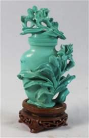Chinese Carved Turquoise Vase w.Wood Base