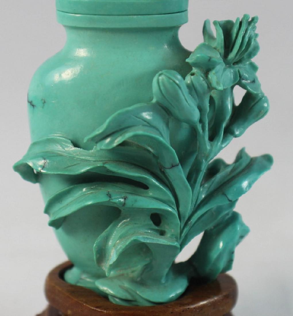 Chinese Carved Turquoise Vase w.Wood Base - 2