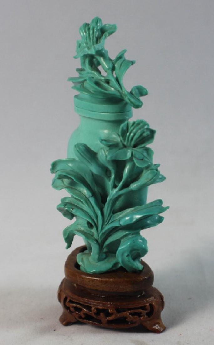 Chinese Carved Turquoise Vase w.Wood Base - 3