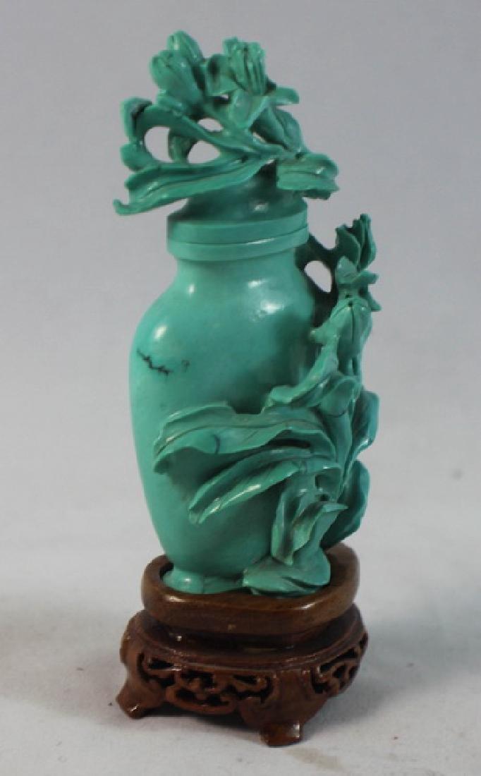 Chinese Carved Turquoise Vase w.Wood Base - 4