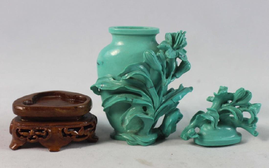 Chinese Carved Turquoise Vase w.Wood Base - 6