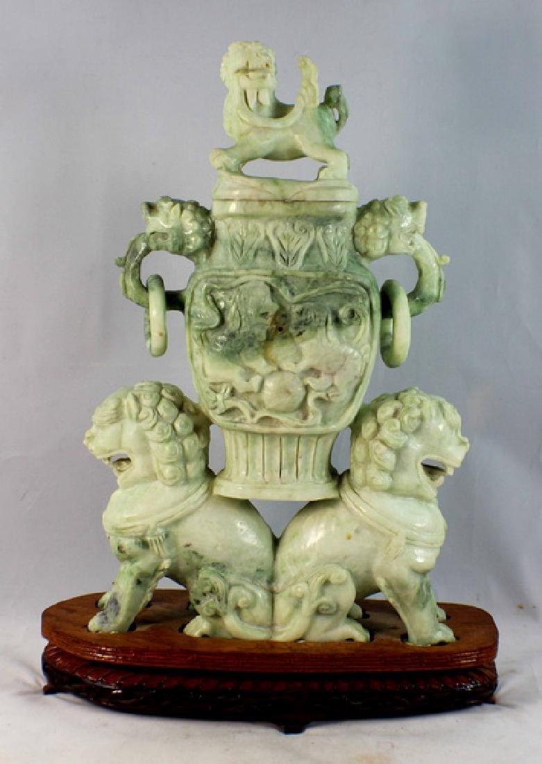 Chinese Carved Jade Incense Burner w,Wood Base
