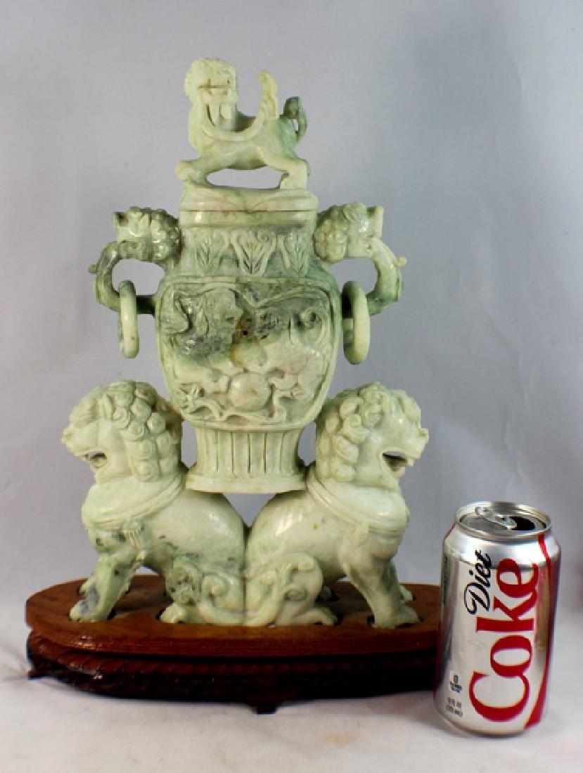 Chinese Carved Jade Incense Burner w,Wood Base - 2