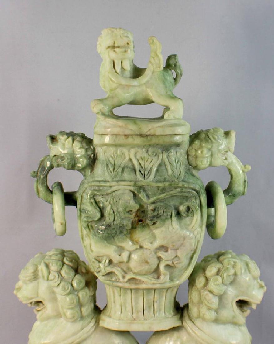 Chinese Carved Jade Incense Burner w,Wood Base - 3