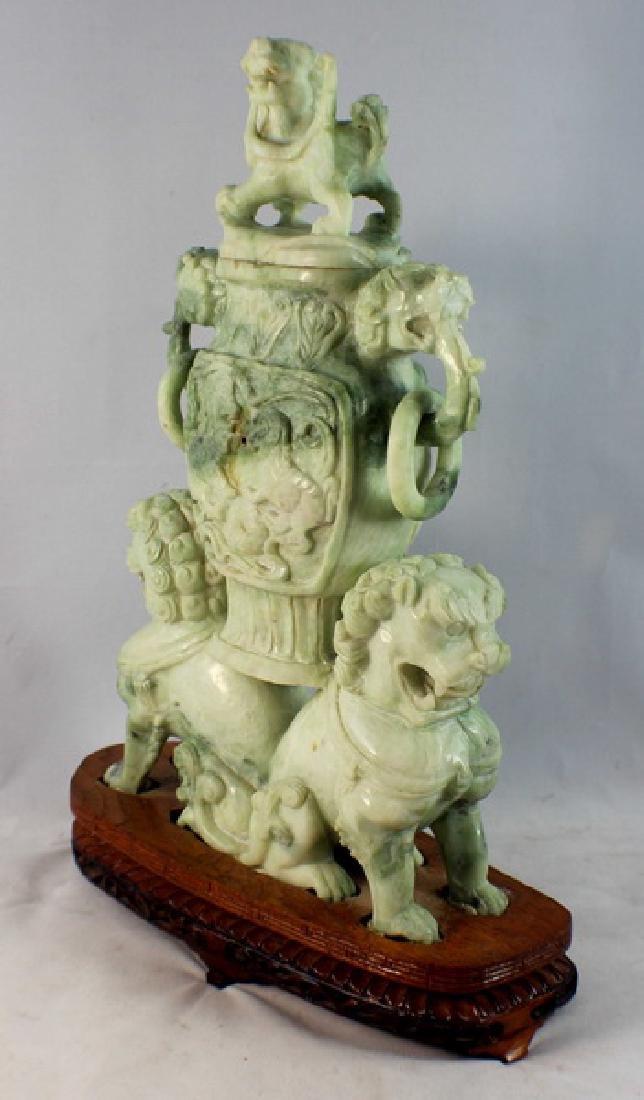 Chinese Carved Jade Incense Burner w,Wood Base - 5
