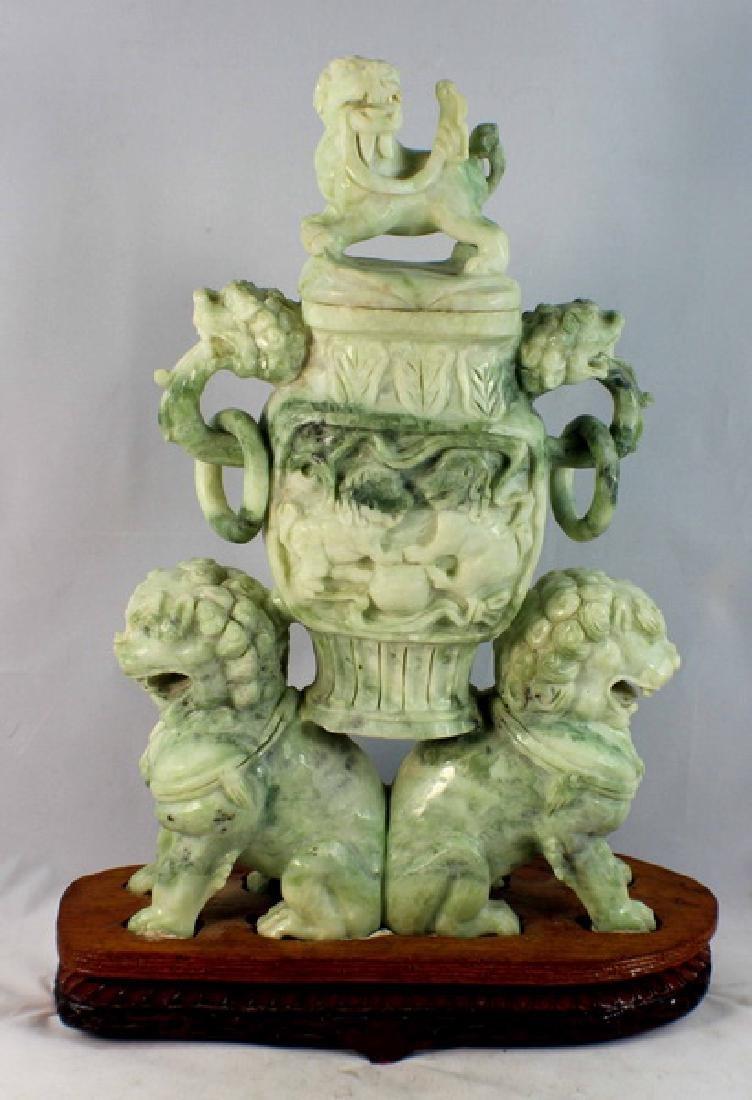 Chinese Carved Jade Incense Burner w,Wood Base - 6